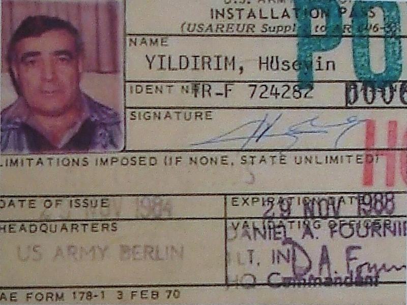Hüseyin Yıldırım'ın ABD Askeri İstihbaratı tarafından verilen özel kimlik kartı.